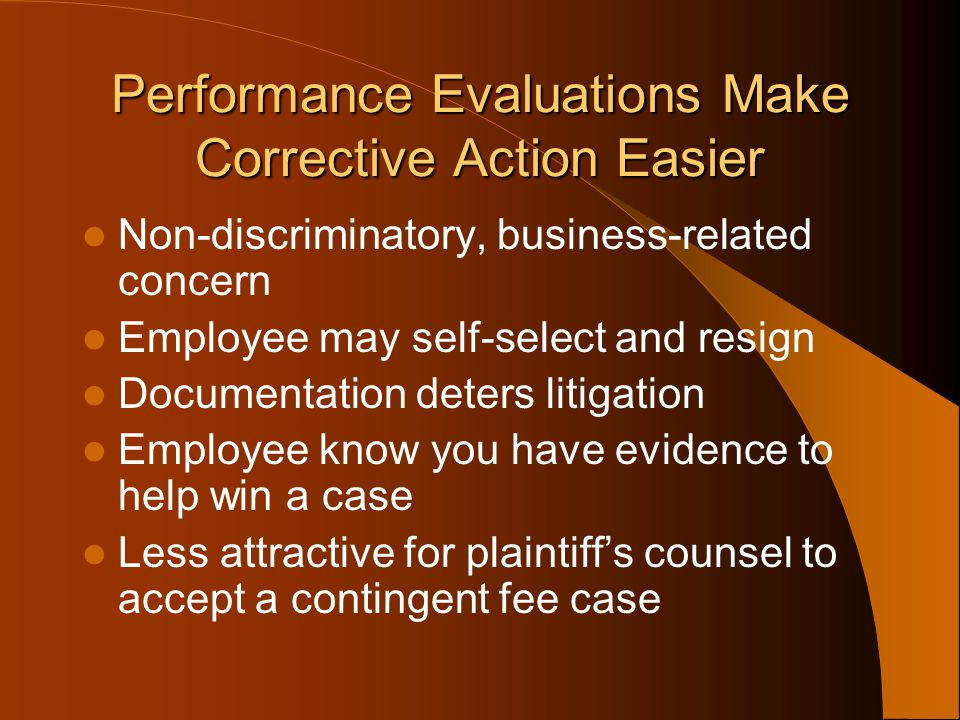 Performance Evaluations Make Corrective Action Easier