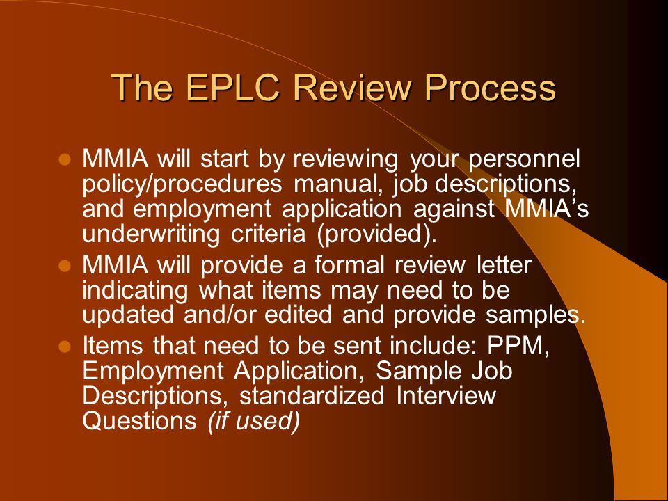 The EPLC Review Process