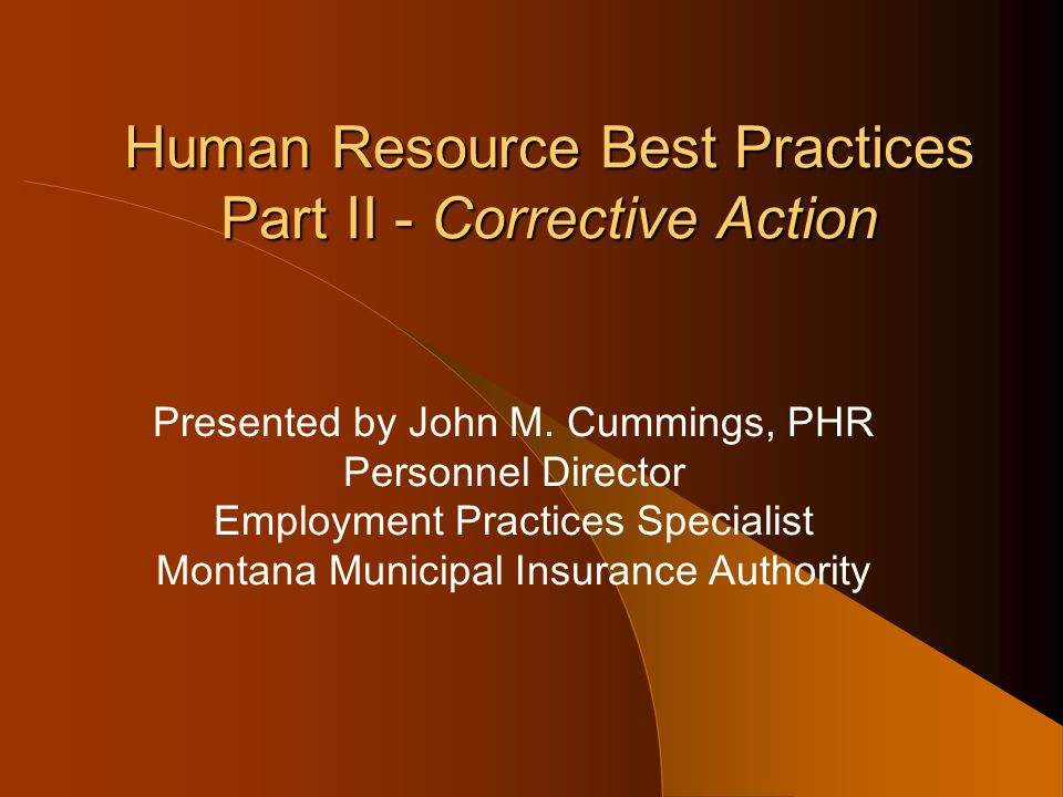 Human Resource Best Practices Part II - Corrective Action