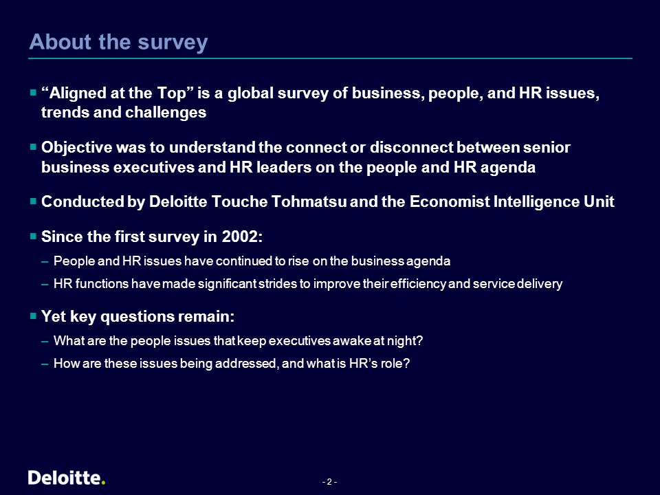 About the survey Aligned at the Top is a global survey of business, people, and HR issues, trends and challenges.