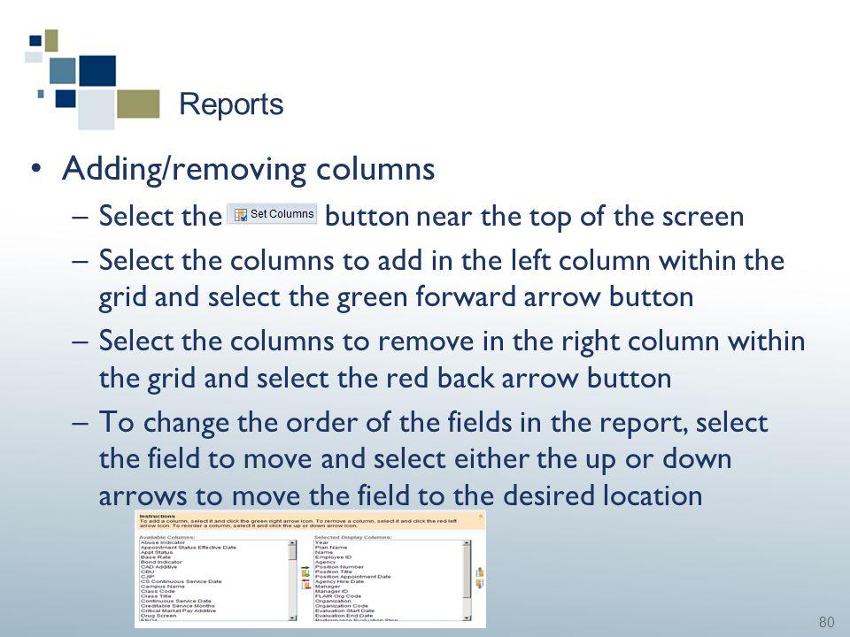 Adding/removing columns