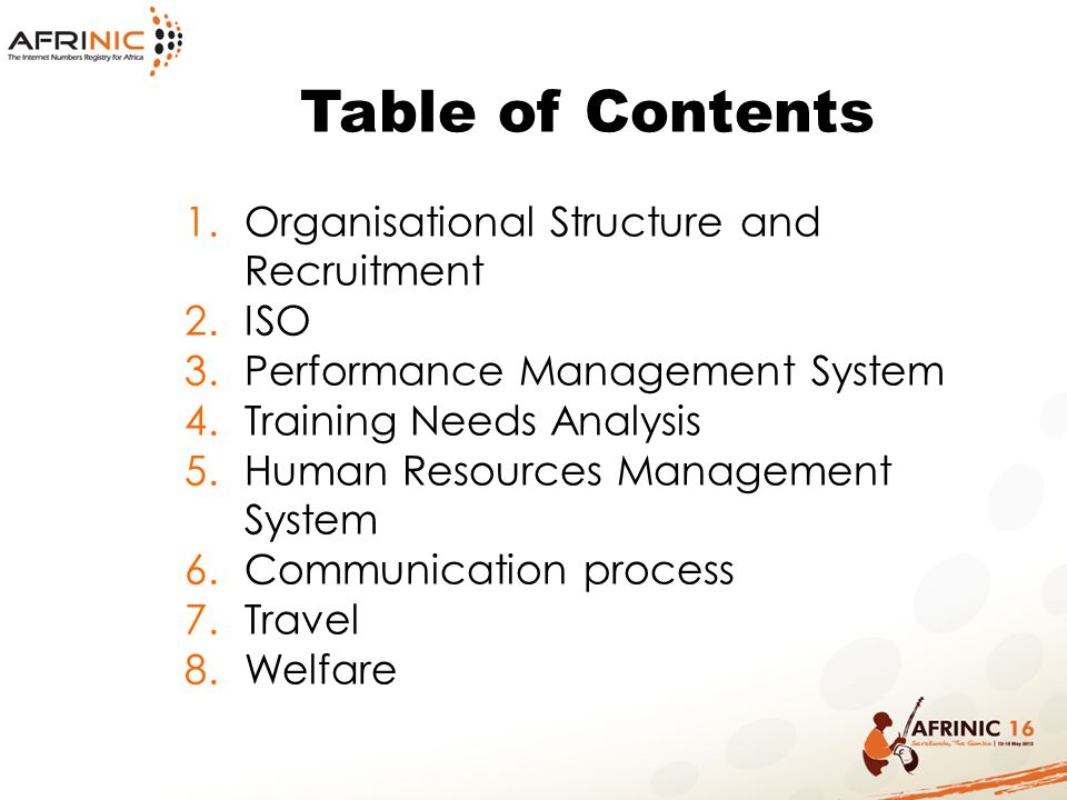 Table of Contents Organisational Structure and Recruitment ISO