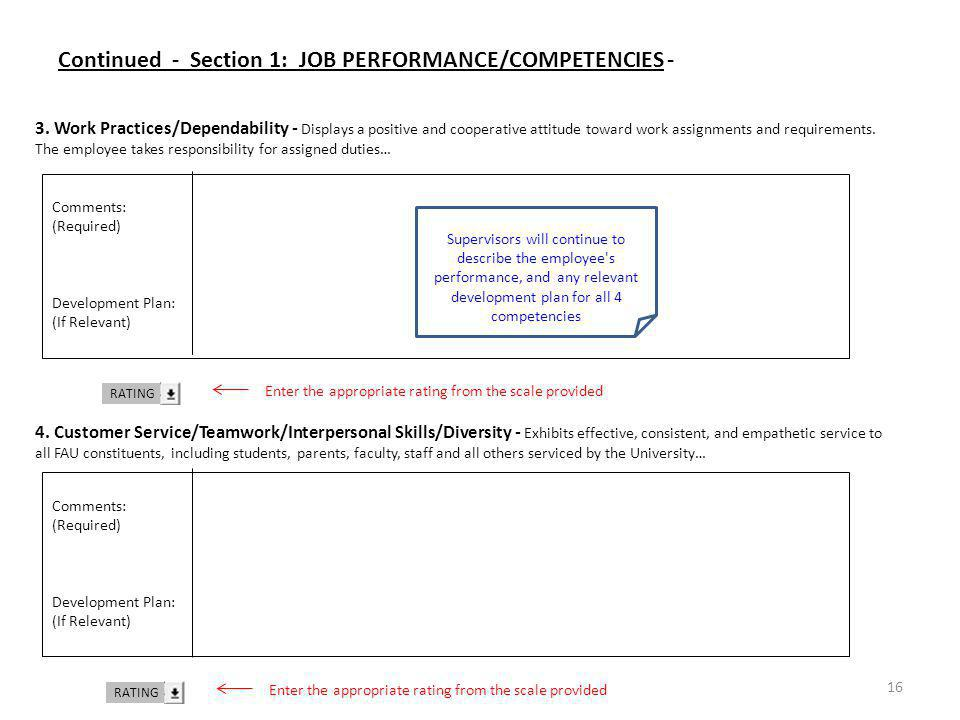 Continued - Section 1: JOB PERFORMANCE/COMPETENCIES -