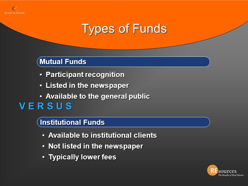 Types of Funds V E R S U S Mutual Funds Participant recognition