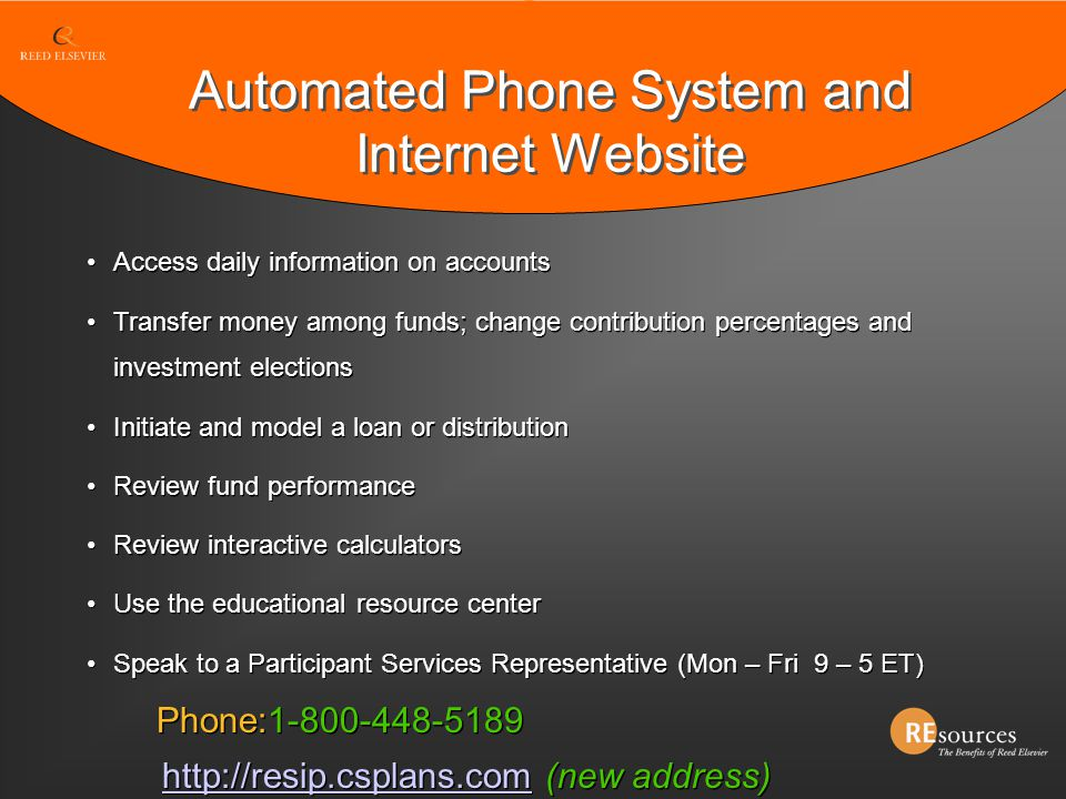 Automated Phone System and Internet Website