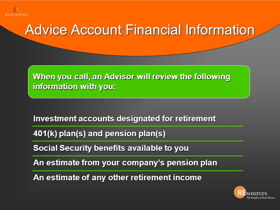 Advice Account Financial Information