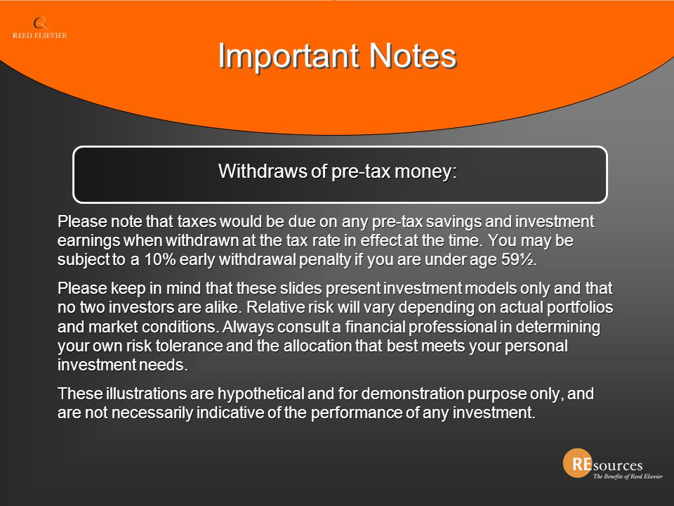 Withdraws of pre-tax money: