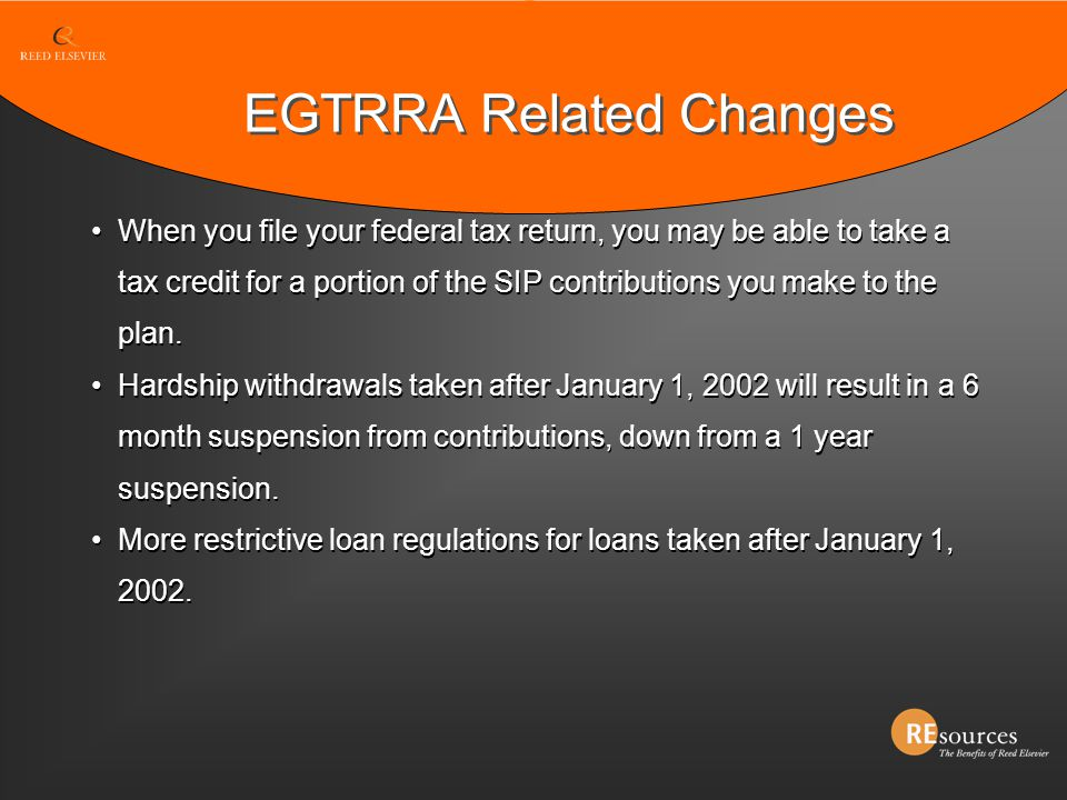 EGTRRA Related Changes