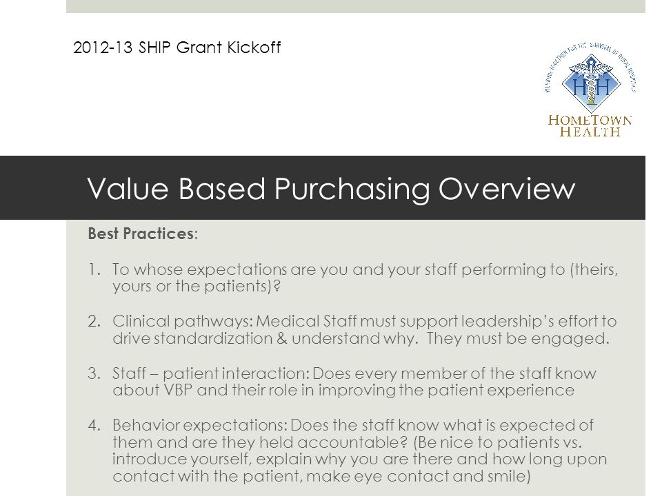 Value Based Purchasing Overview