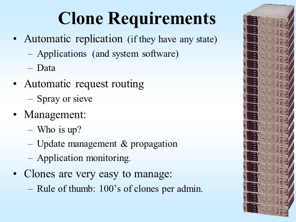 Clone Requirements Automatic replication (if they have any state)