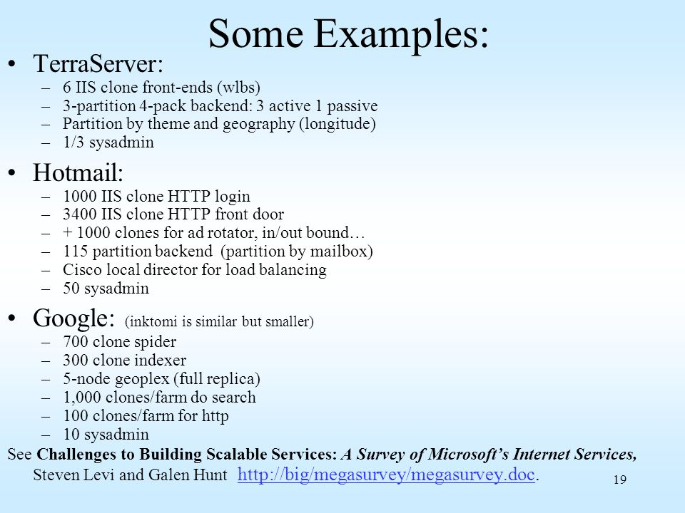 Some Examples: TerraServer: Hotmail: