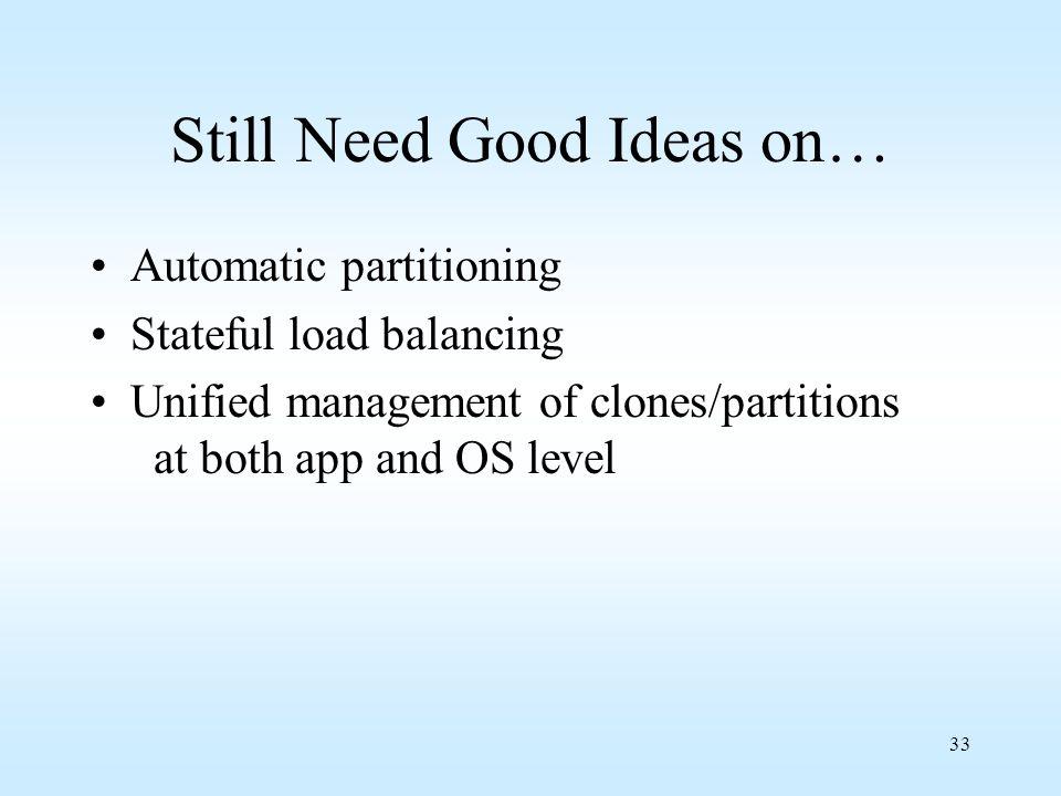Still Need Good Ideas on…