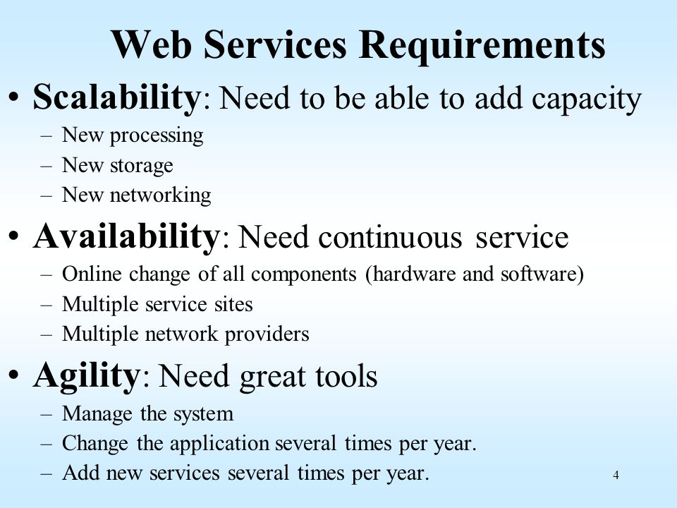 Web Services Requirements