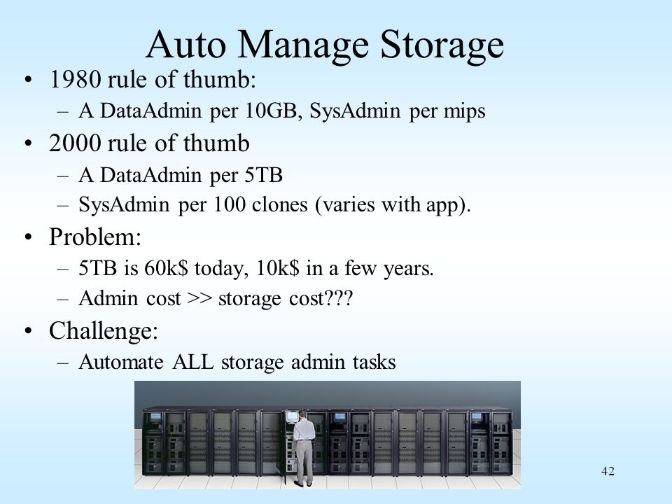 Auto Manage Storage 1980 rule of thumb: 2000 rule of thumb Problem: