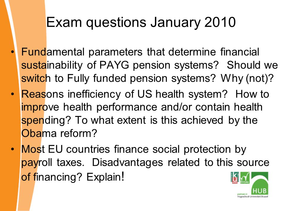 Exam questions January 2010