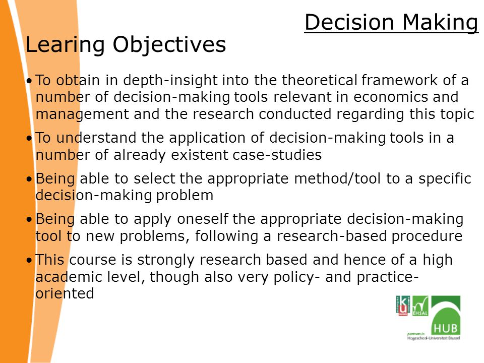 Decision Making Learing Objectives
