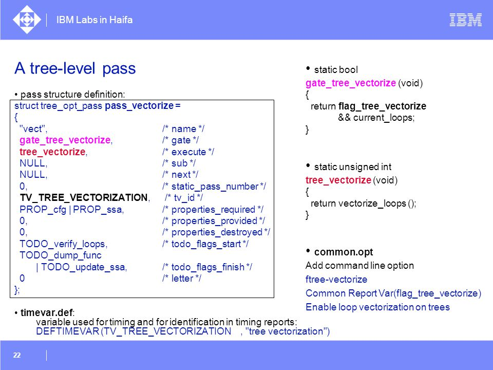 A tree-level pass • static bool • static unsigned int • common.opt
