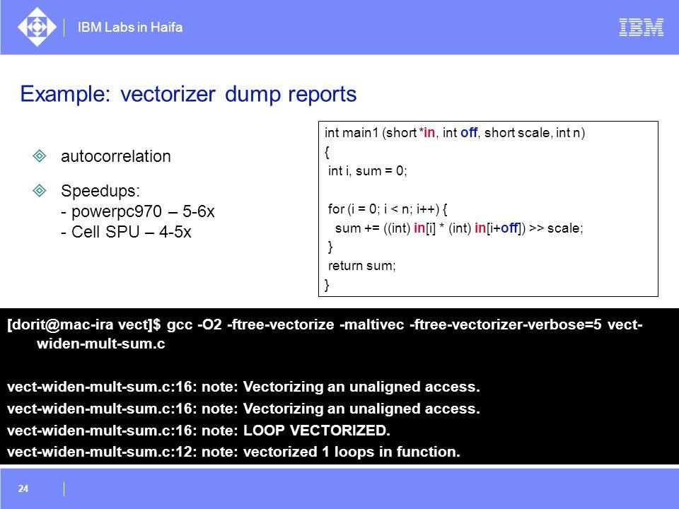 Example: vectorizer dump reports