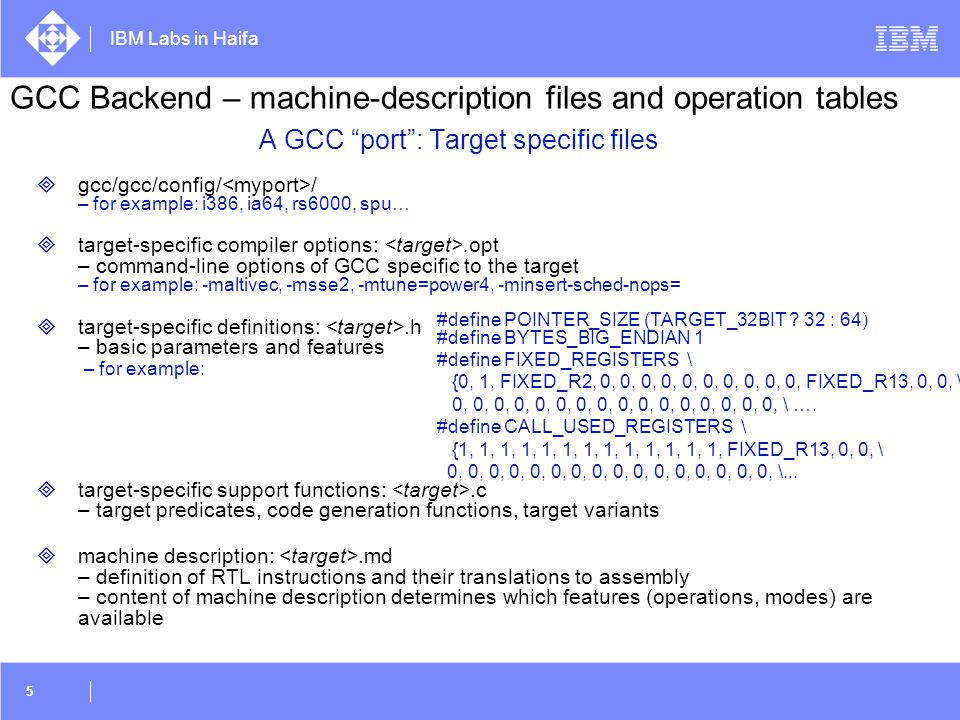A GCC port : Target specific files