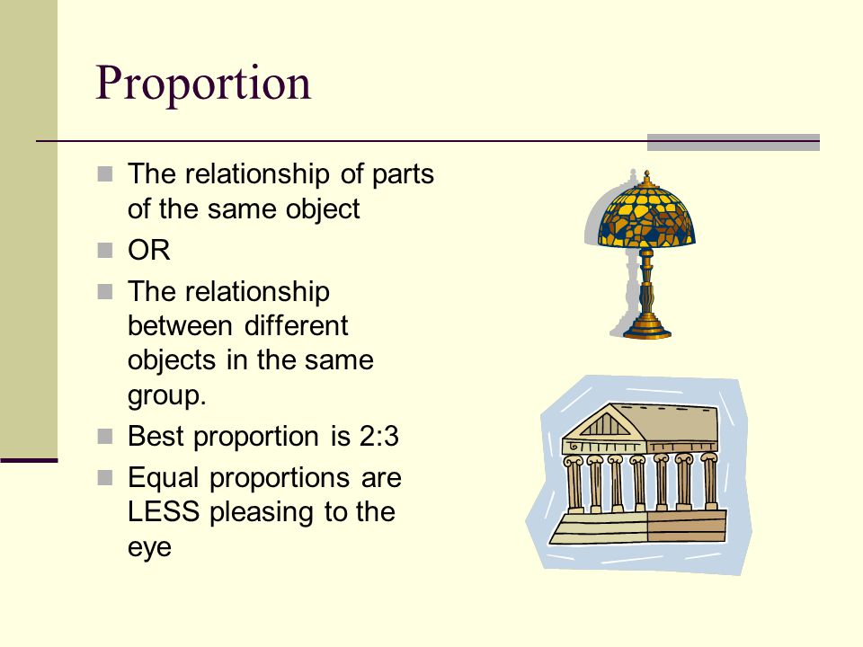 Proportion The relationship of parts of the same object OR