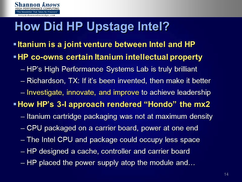 How Did HP Upstage Intel