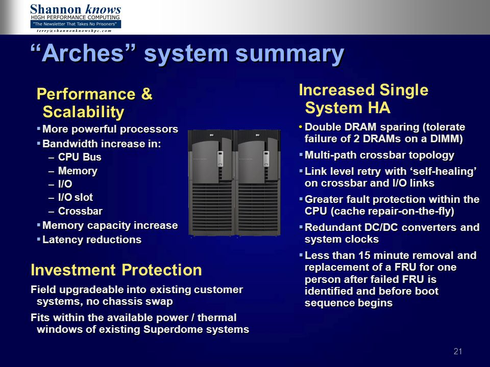 Arches system summary