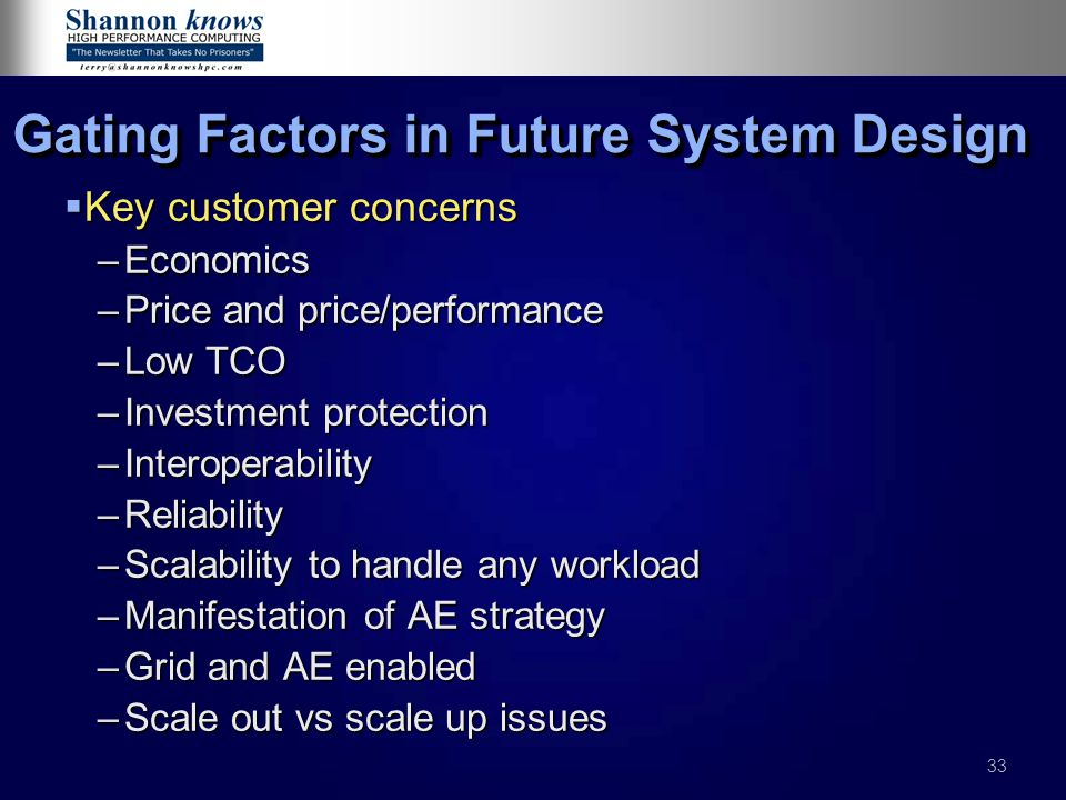 Gating Factors in Future System Design