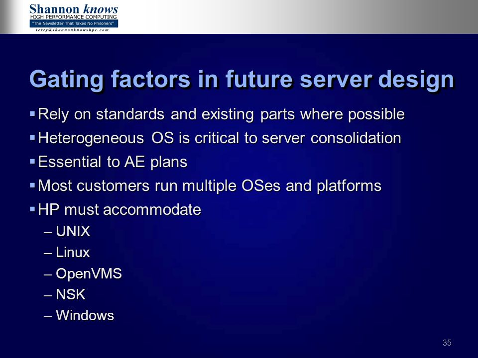 Gating factors in future server design