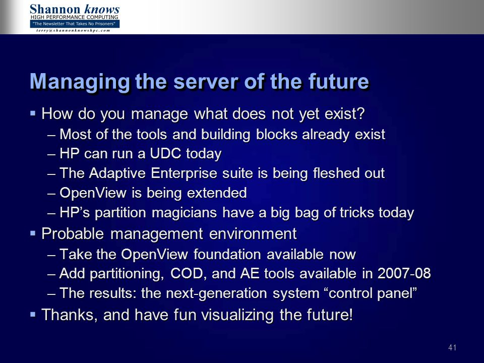 Managing the server of the future