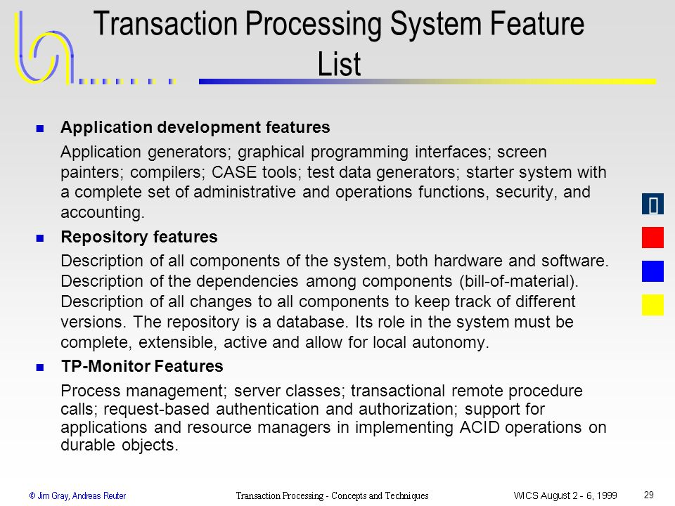 Transaction Processing System Feature List