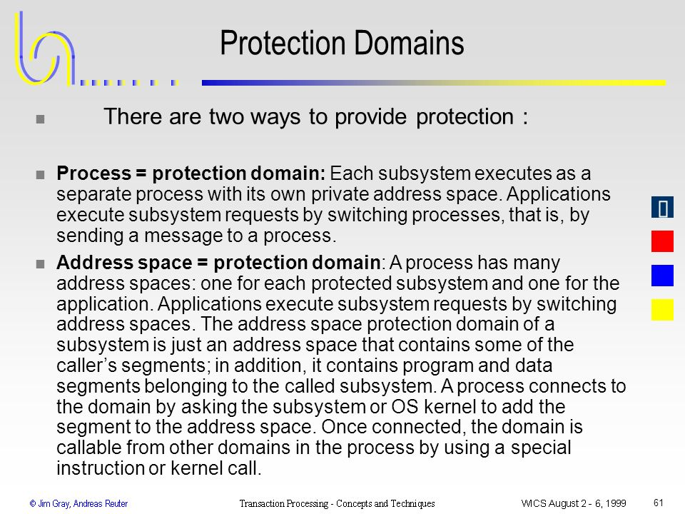 Protection Domains There are two ways to provide protection :