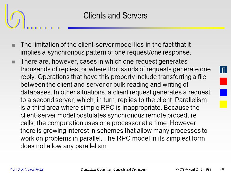 Clients and Servers The limitation of the client-server model lies in the fact that it implies a synchronous pattern of one request/one response.