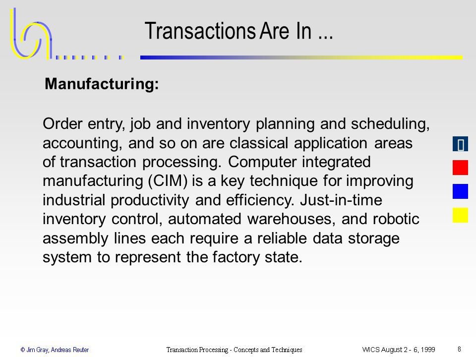 Transactions Are In ... Manufacturing: