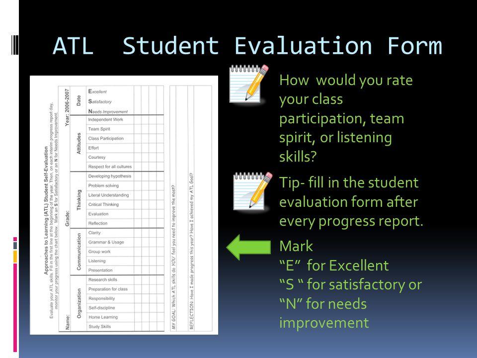 ATL Student Evaluation Form
