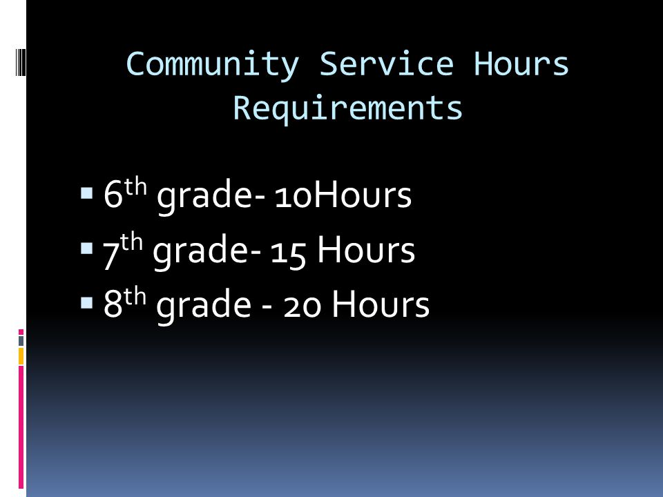 Community Service Hours Requirements