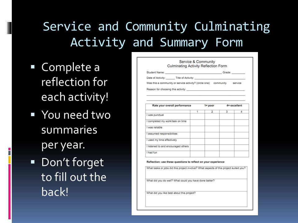 Service and Community Culminating Activity and Summary Form
