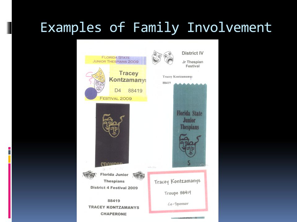 Examples of Family Involvement