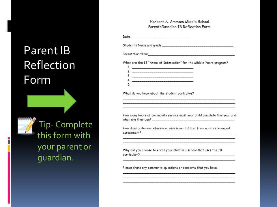 Parent IB Reflection Form
