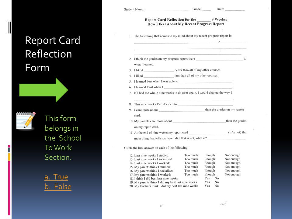 Report Card Reflection Form
