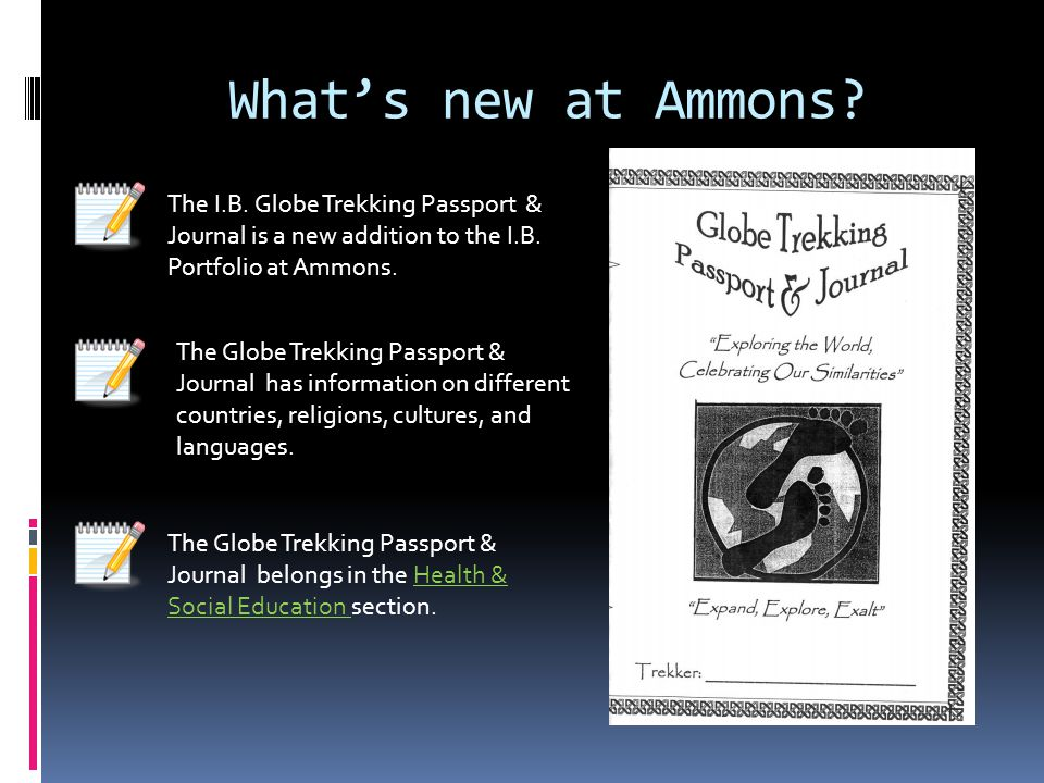 What's new at Ammons The I.B. Globe Trekking Passport & Journal is a new addition to the I.B. Portfolio at Ammons.