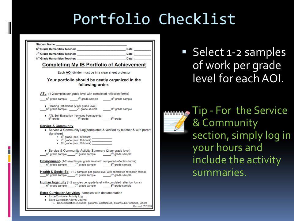 Portfolio Checklist Select 1-2 samples of work per grade level for each AOI.