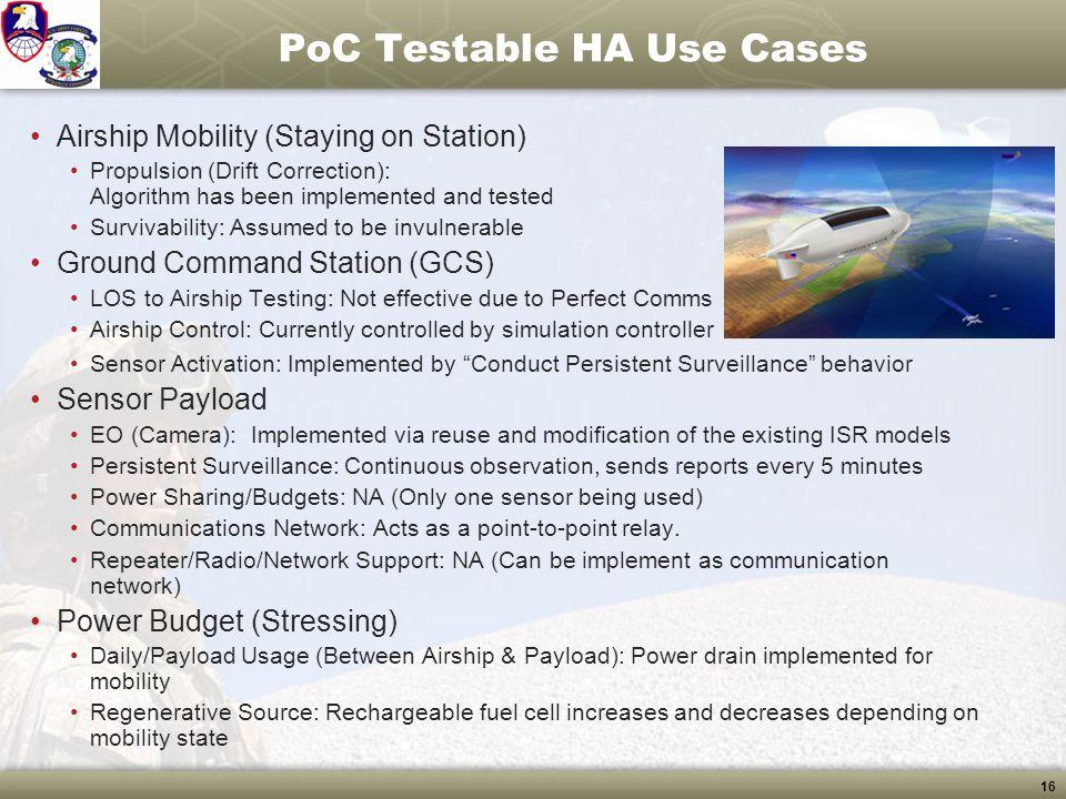 PoC Testable HA Use Cases