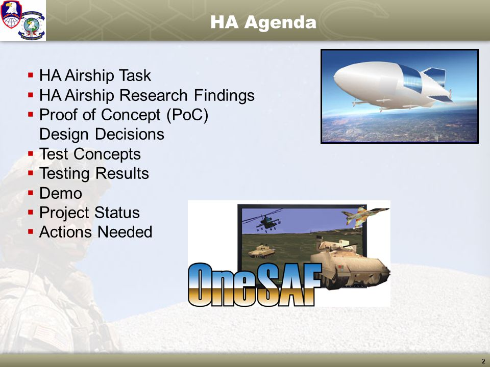 HA Agenda HA Airship Task HA Airship Research Findings