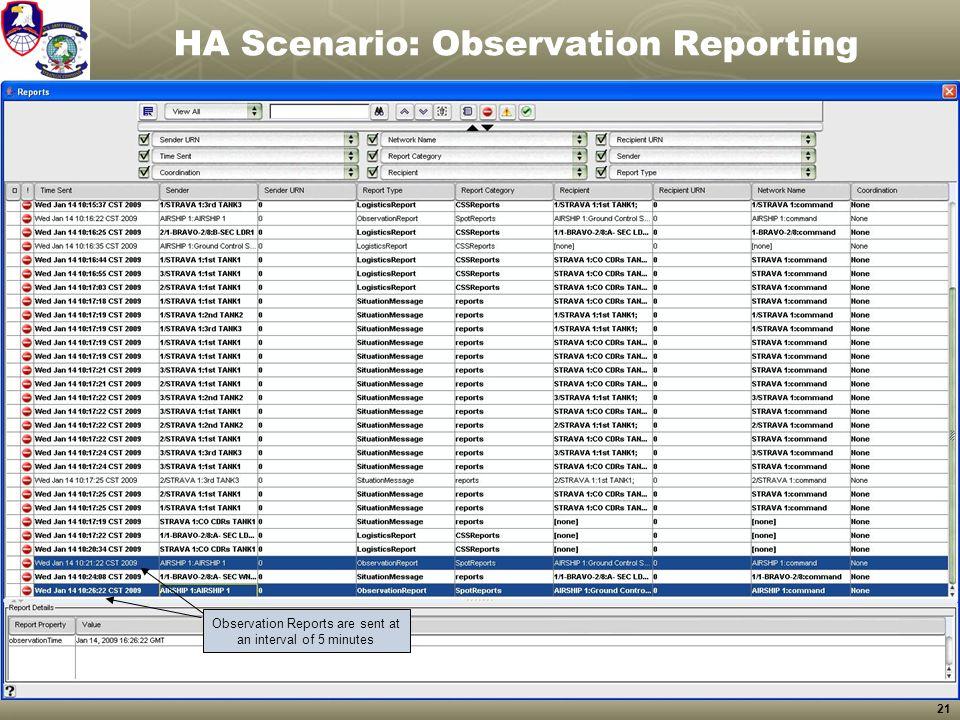 HA Scenario: Observation Reporting