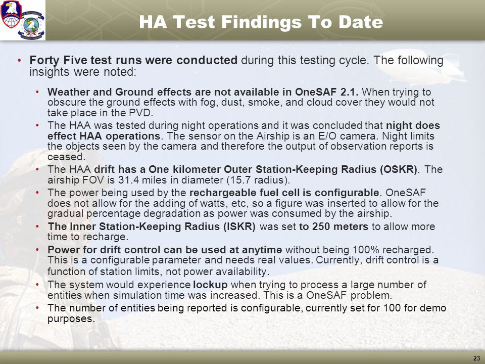HA Test Findings To Date