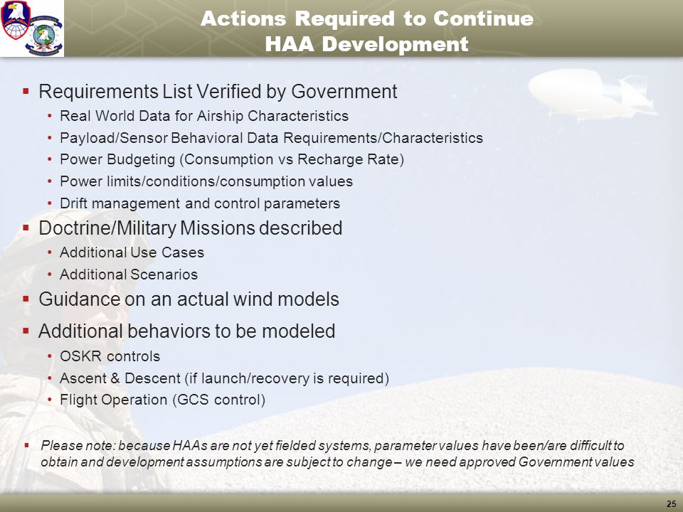Actions Required to Continue HAA Development
