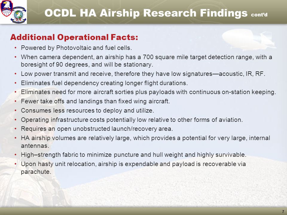 OCDL HA Airship Research Findings cont'd