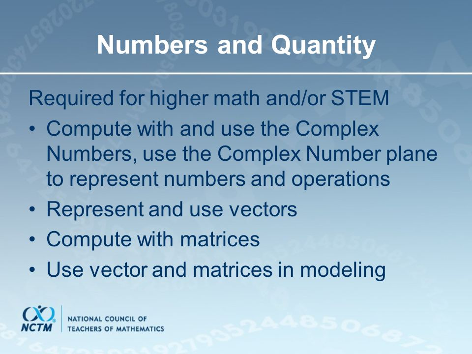 Numbers and Quantity Required for higher math and/or STEM