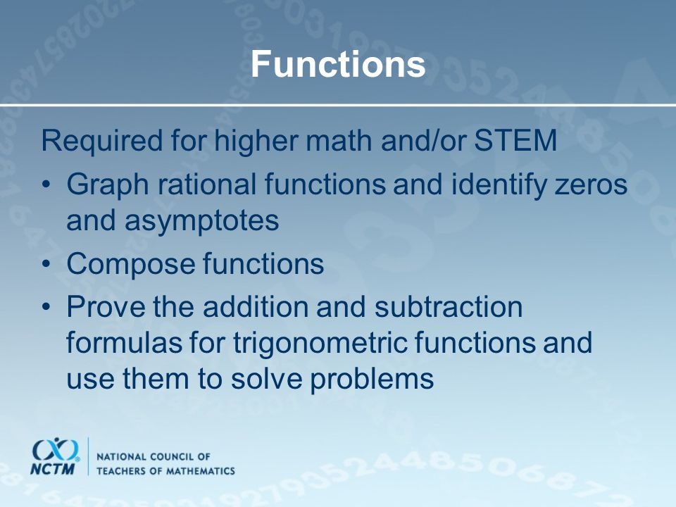 Functions Required for higher math and/or STEM