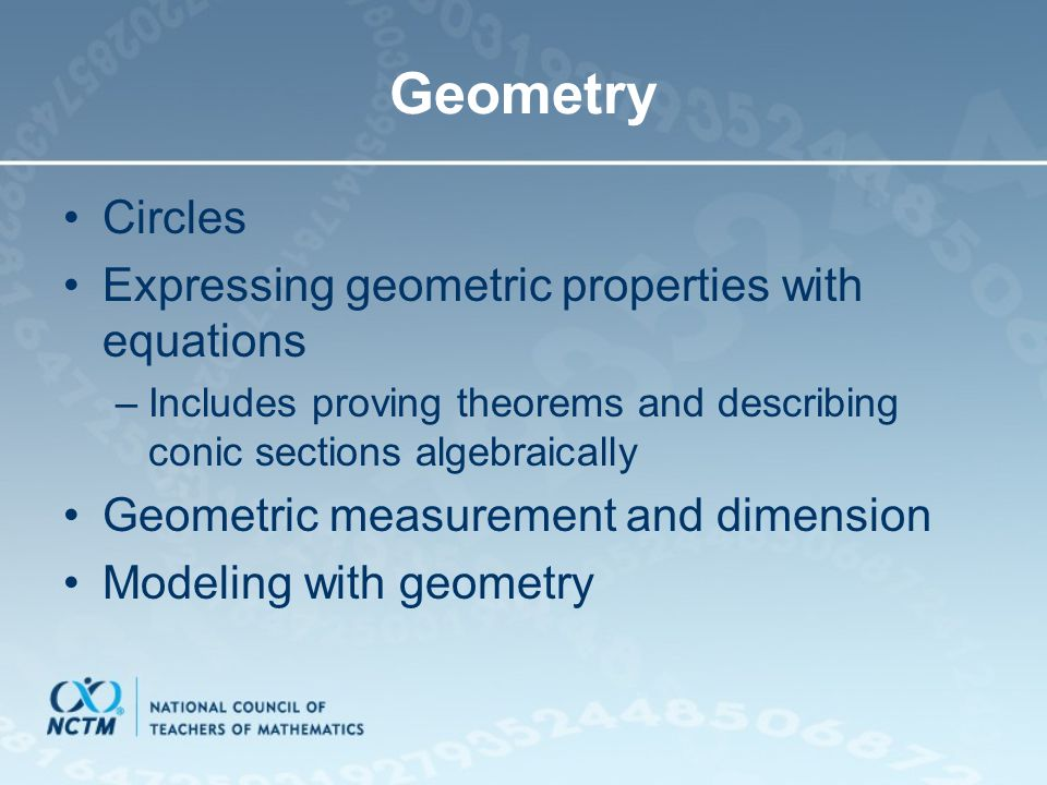 Geometry Circles Expressing geometric properties with equations
